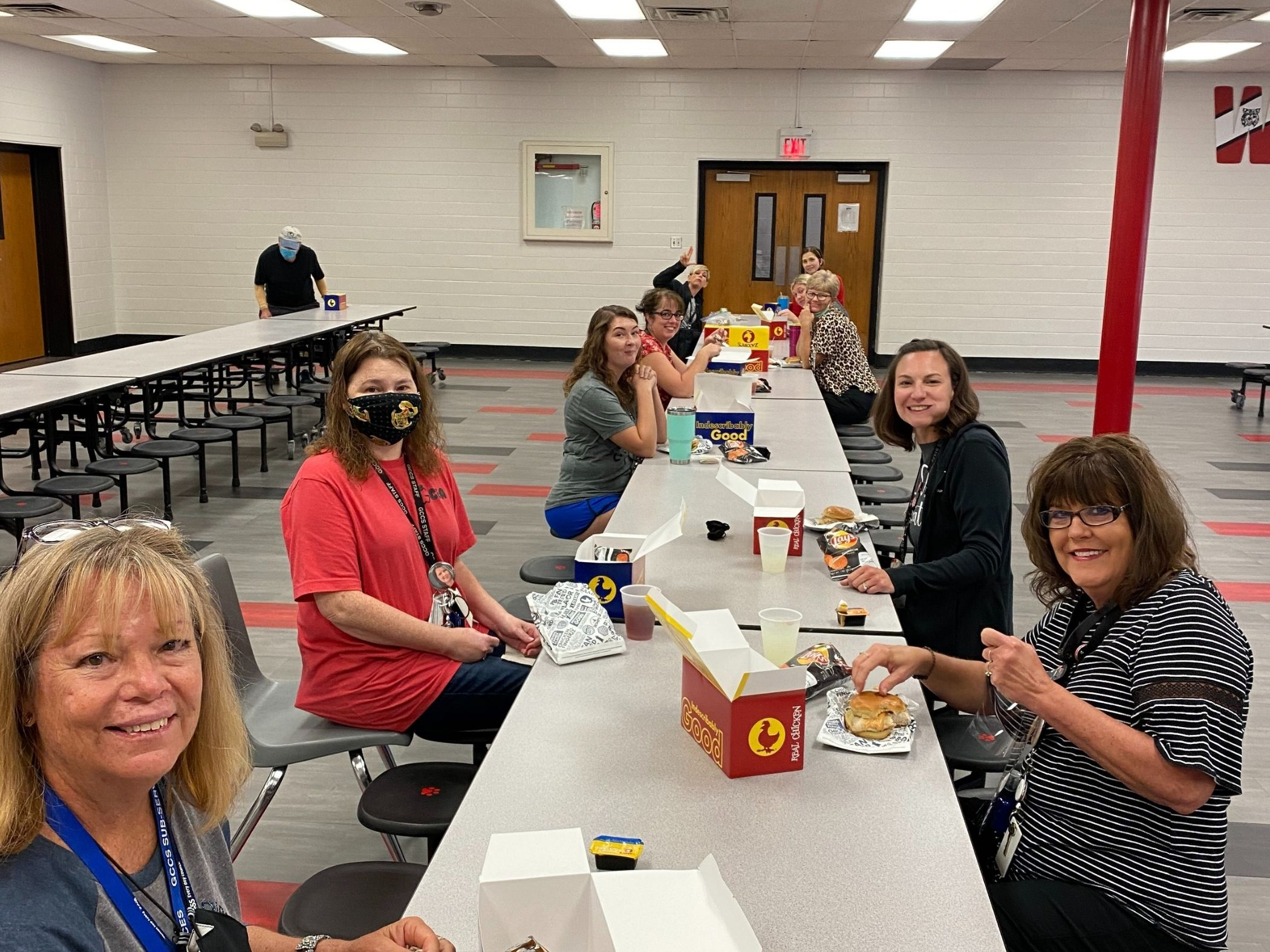 Staff members eating lunch